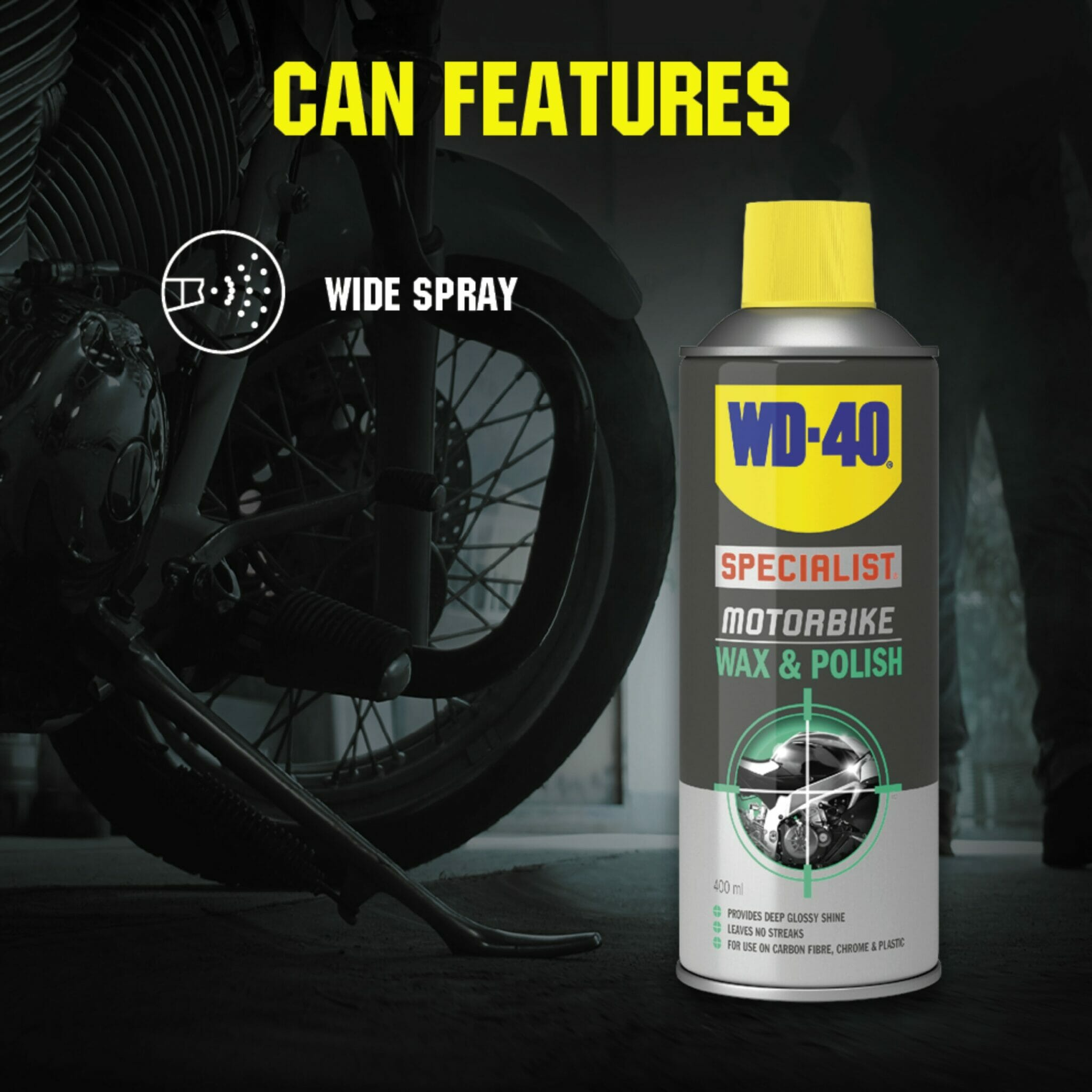 uk wd40 specialist motorbike wax polish 400ml can features lifestyle background