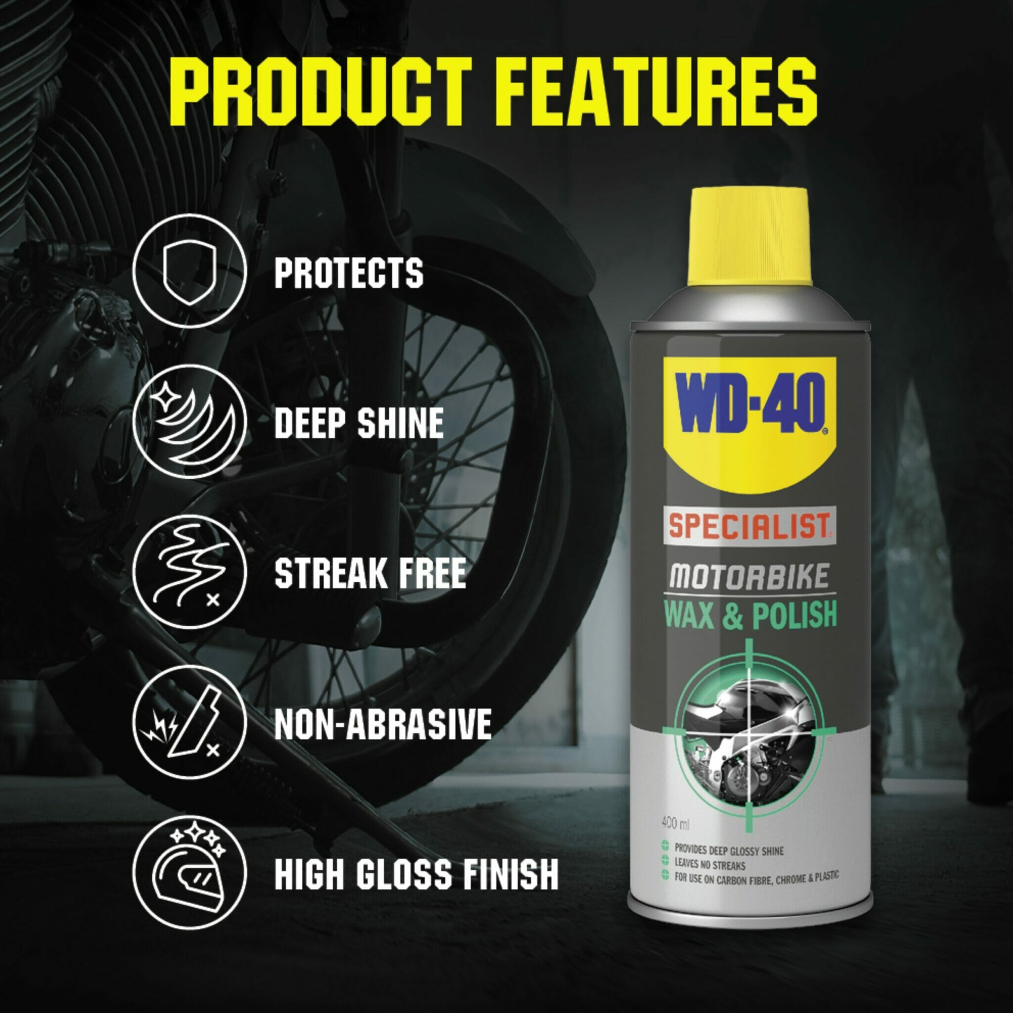 uk wd40 specialist motorbike wax polish 400ml product features lifestyle background