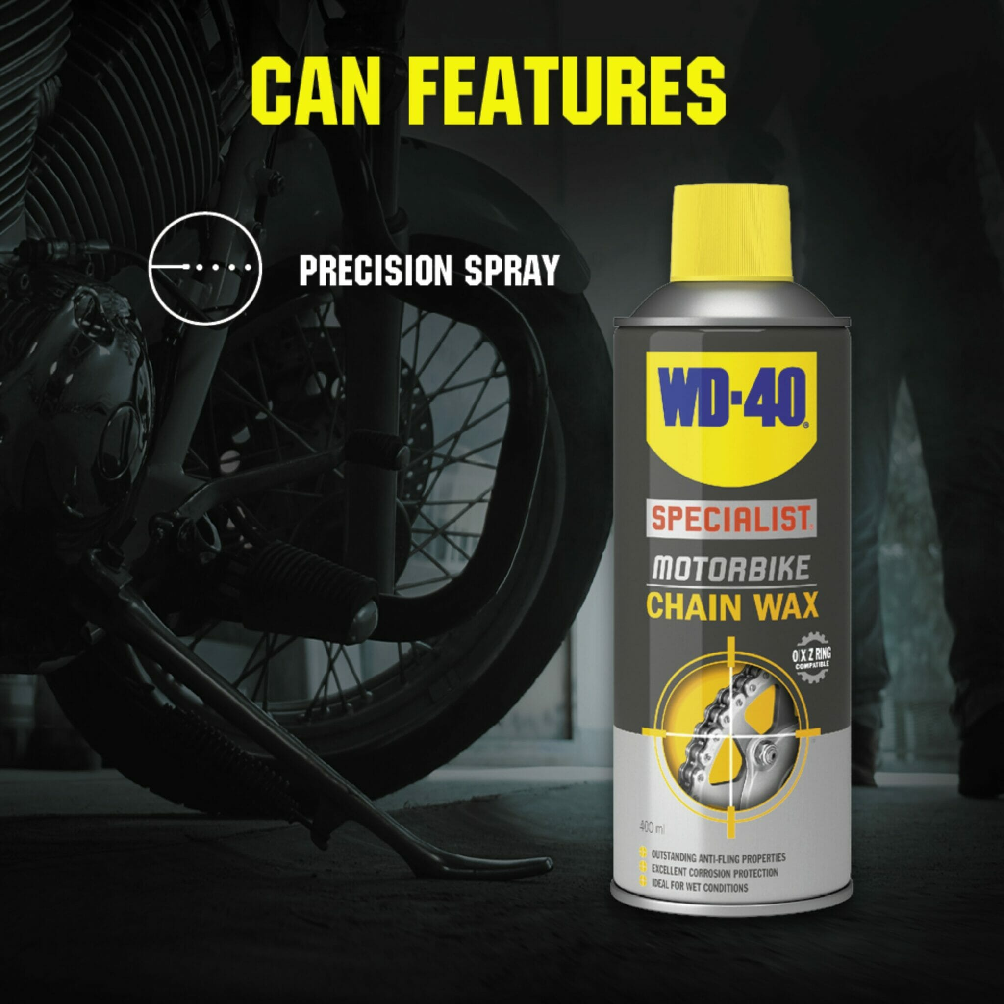 uk wd40 specialist motorbike chain wax 400ml can features lifestyle background