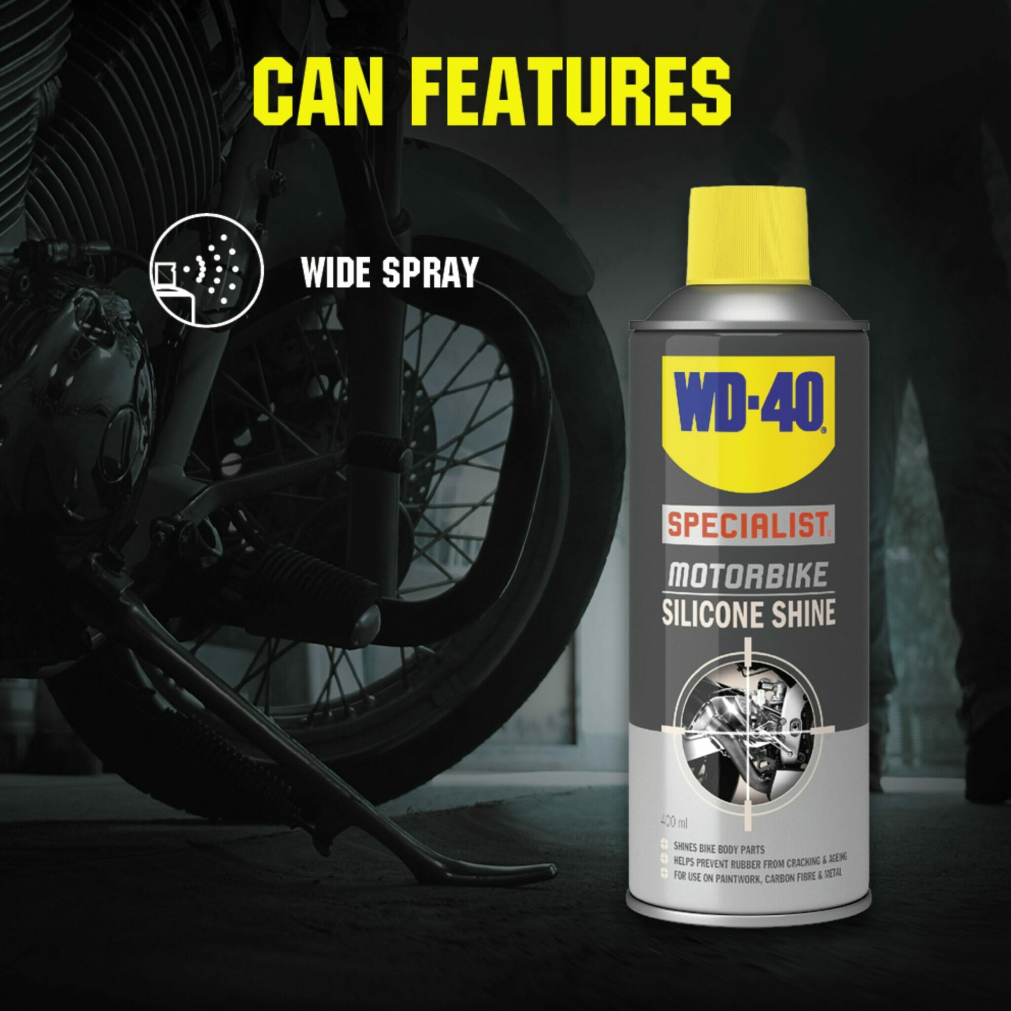 uk wd40 specialist motorbike silicone shine 400ml can features lifestyle background
