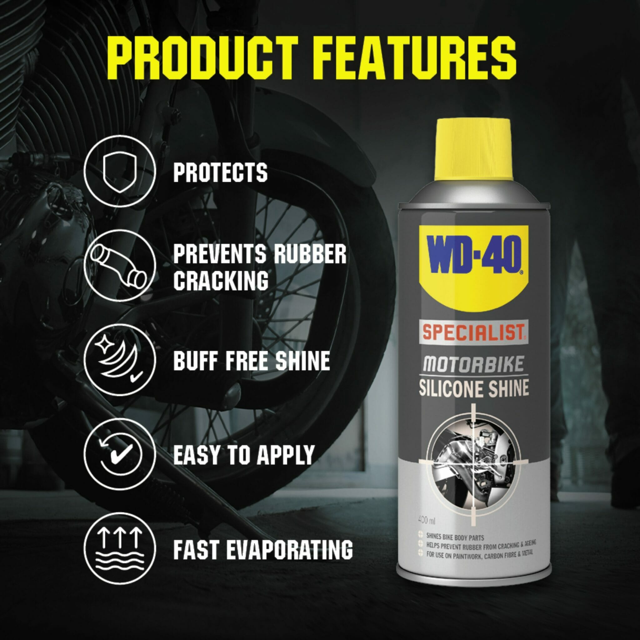uk wd40 specialist motorbike silicone shine 400ml product features lifestyle background