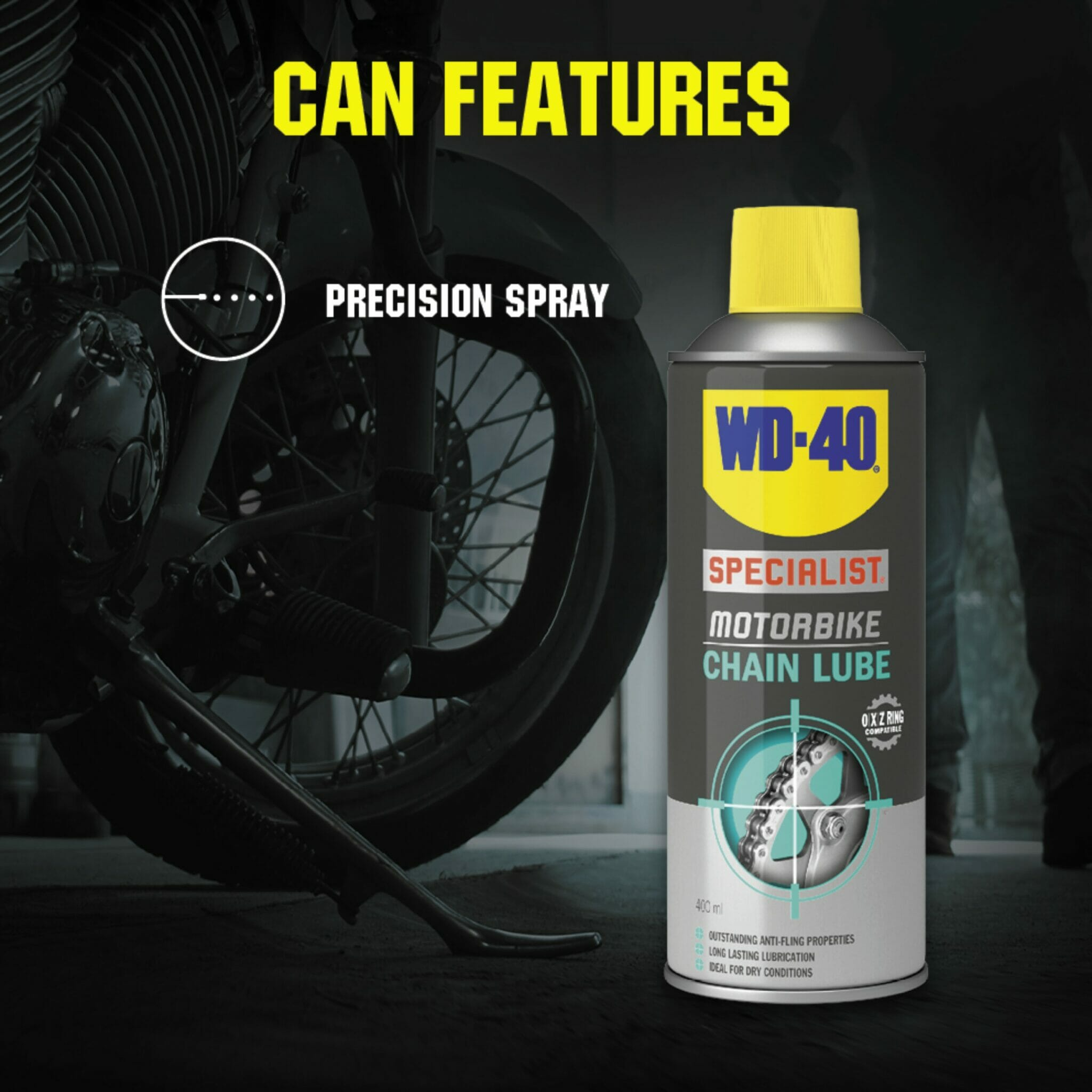 uk wd40 specialist motorbike chain lube 400ml can features lifestyle background