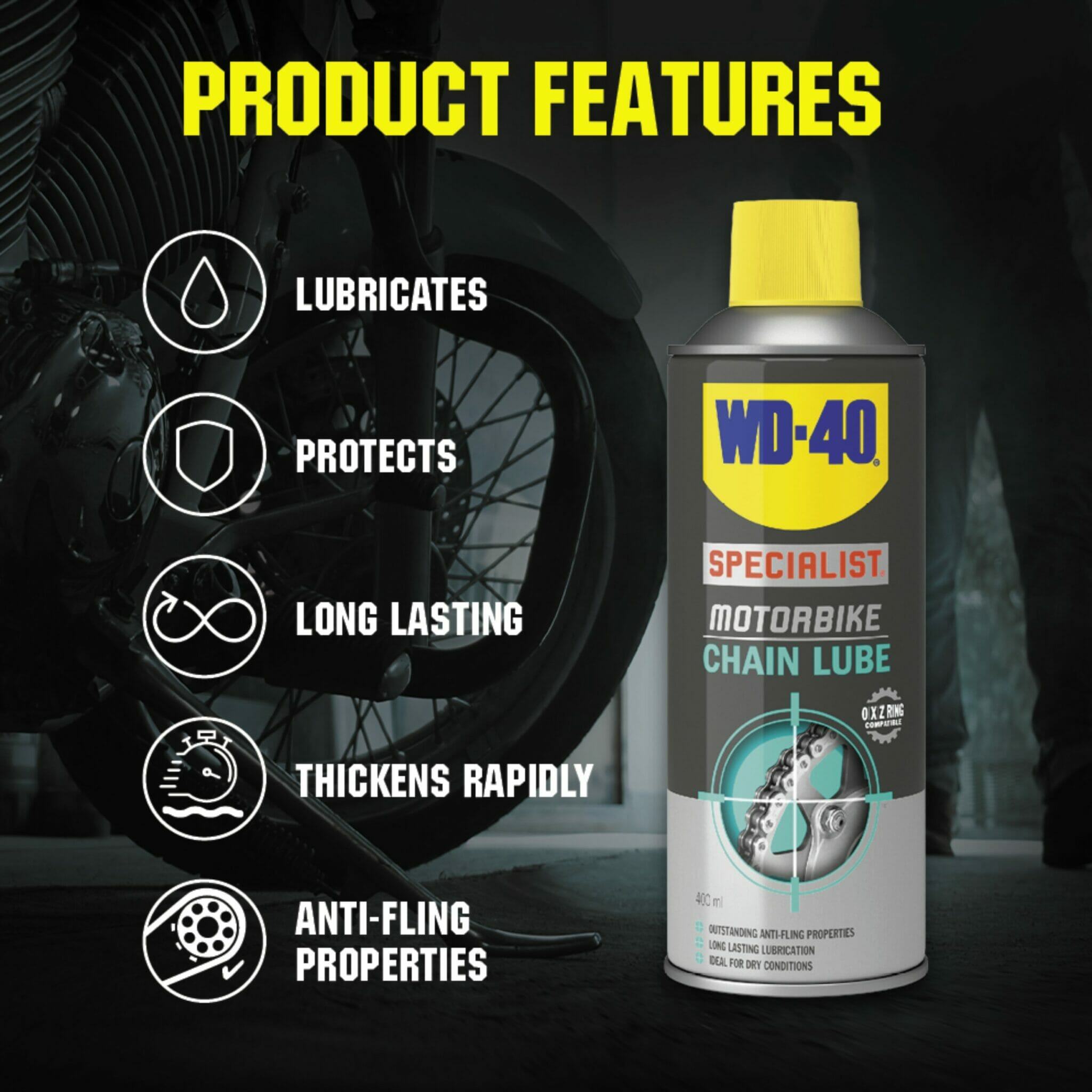 uk wd40 specialist motorbike chain lube 400ml product features lifestyle background