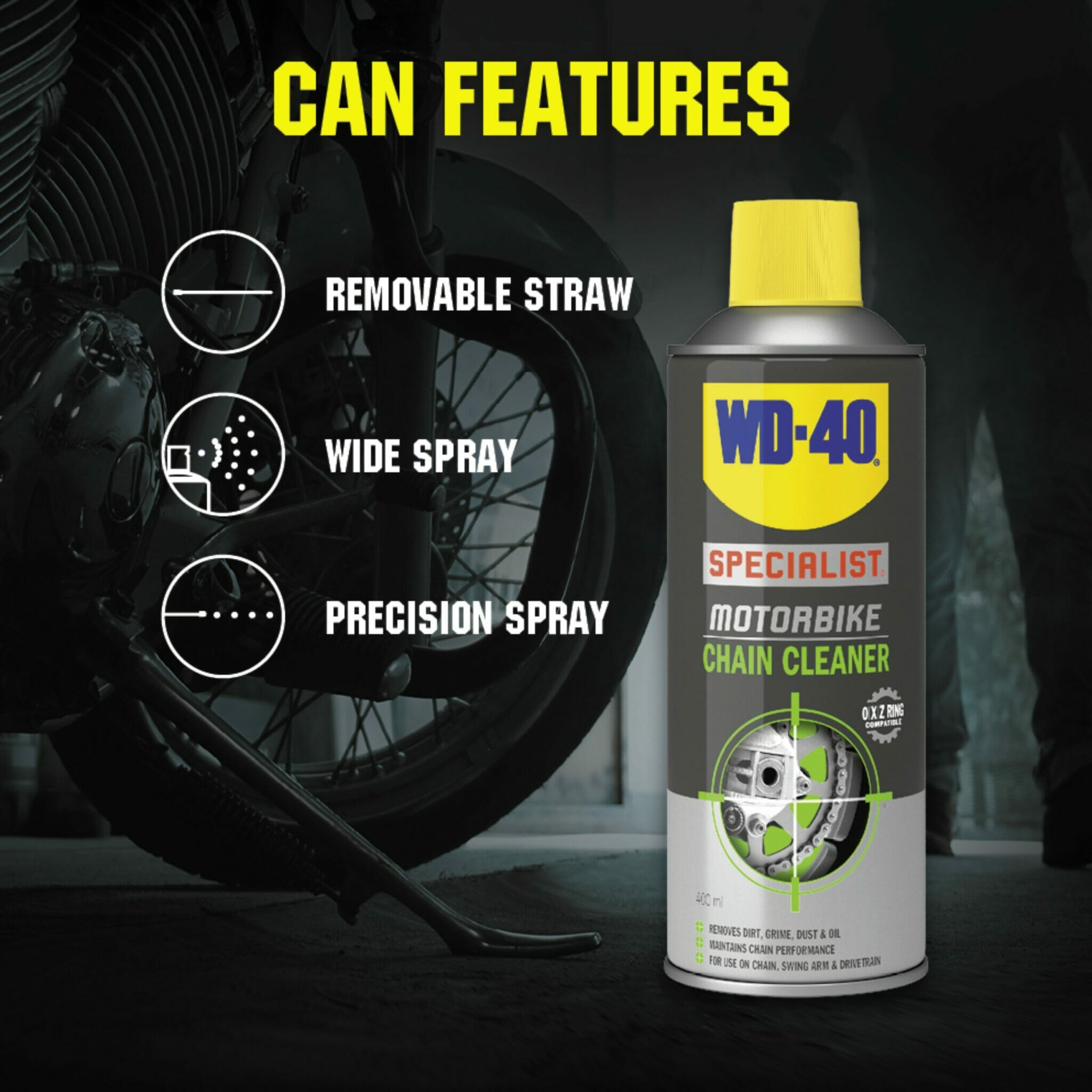 uk wd40 specialist motorbike chain cleaner 400ml can features lifestyle background