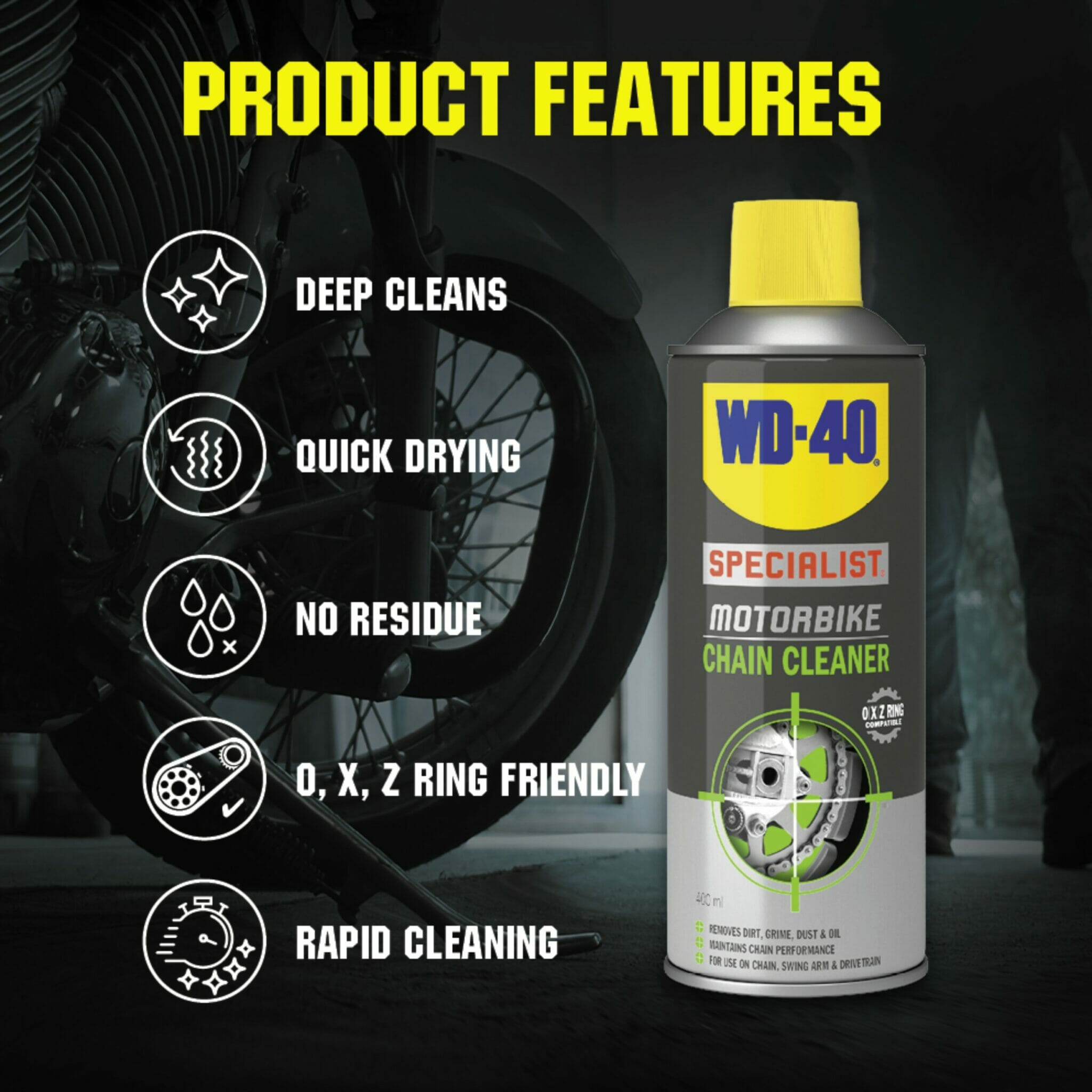 uk wd40 specialist motorbike chain cleaner 400ml product features lifestyle background