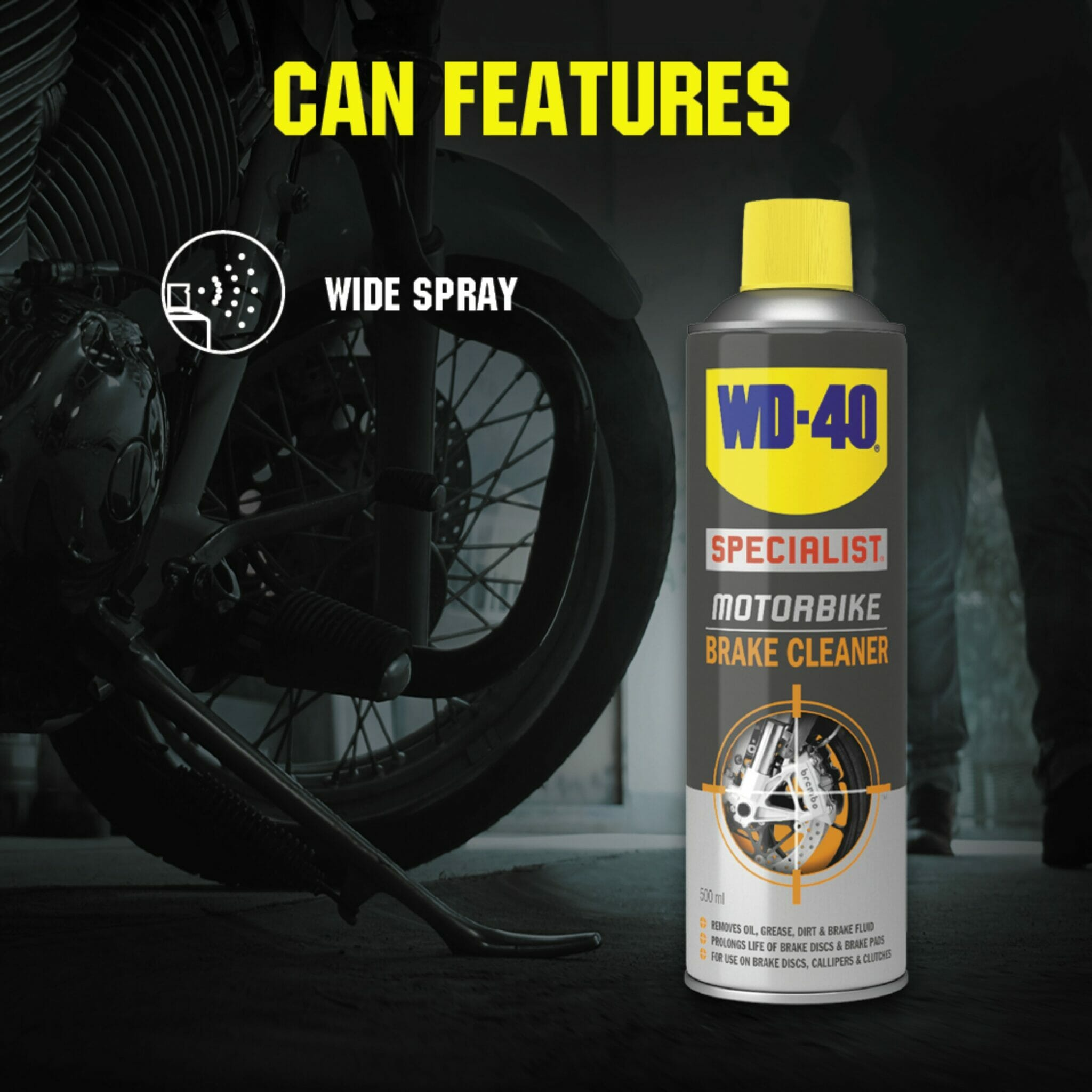 uk wd40 specialist motorbike brake cleaner 400ml can features lifestyle background