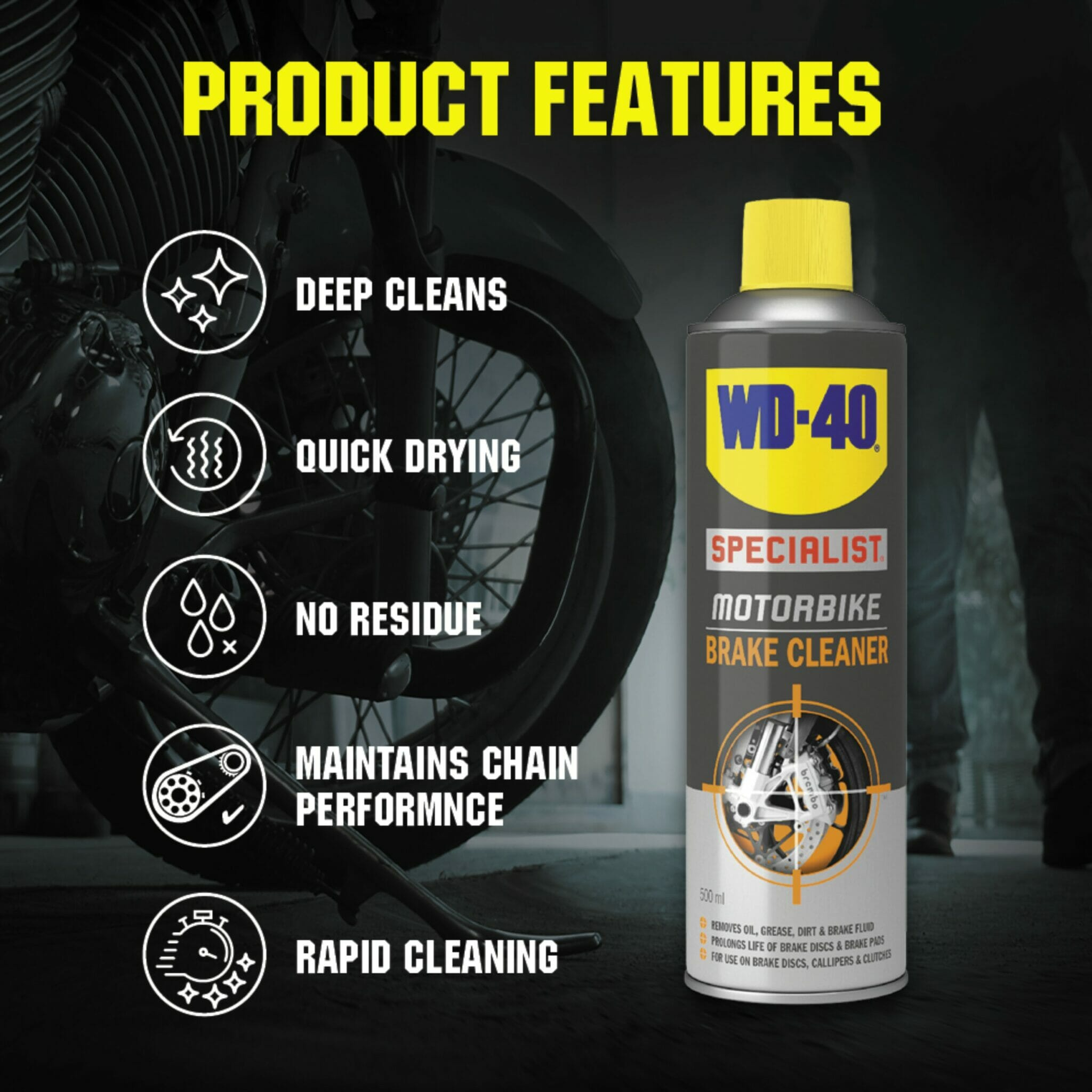 uk wd40 specialist motorbike brake cleaner 400ml product features lifestyle background