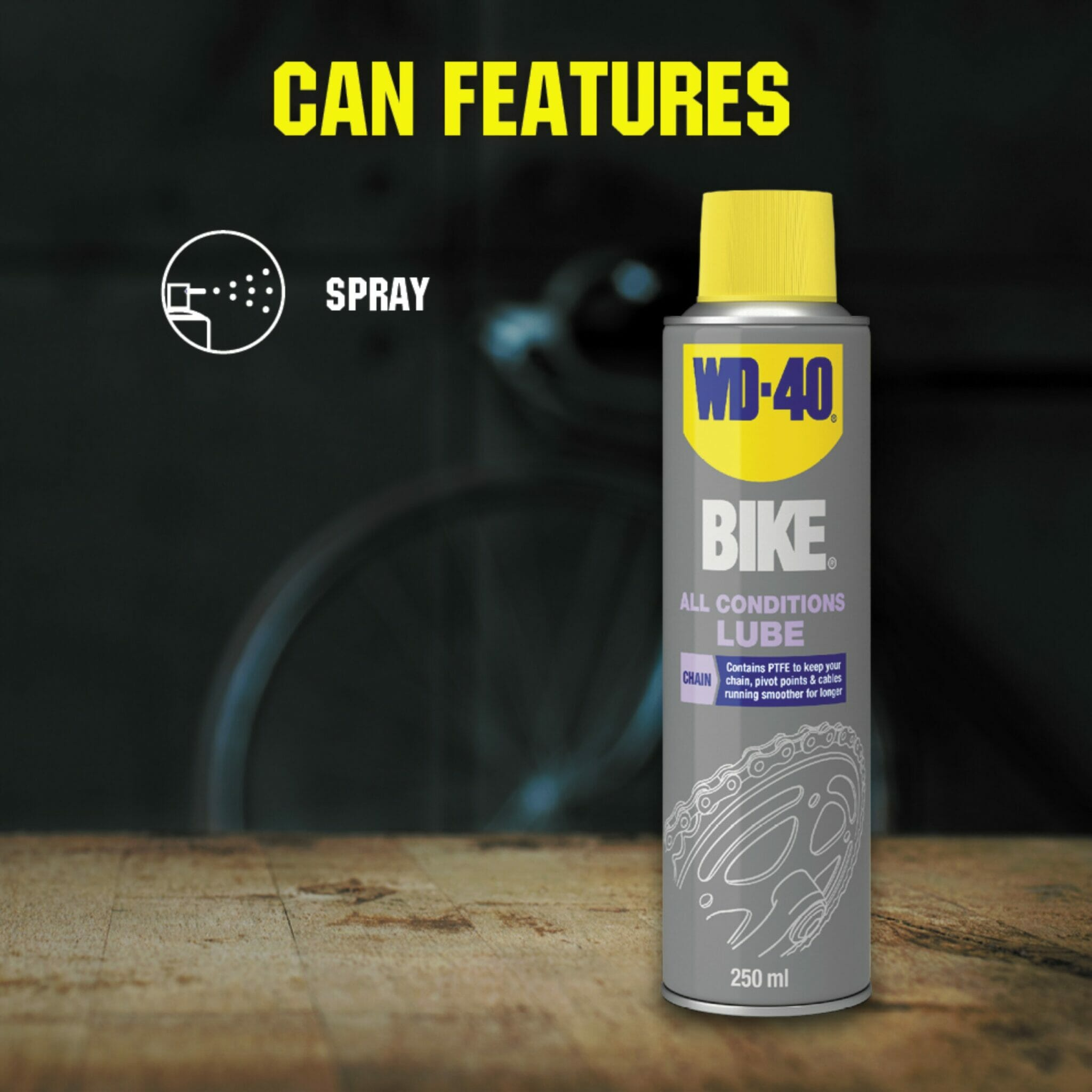 uk wd40 bike all conditions lube 250m can features lifestyle background