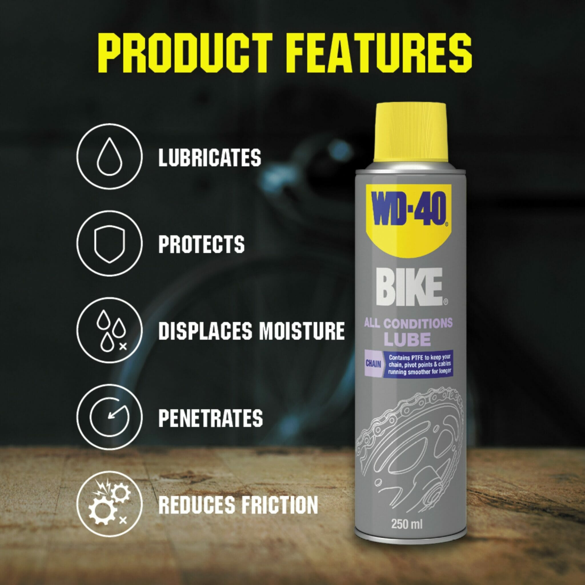 uk wd40 bike all conditions lube 250ml product features lifestyle background