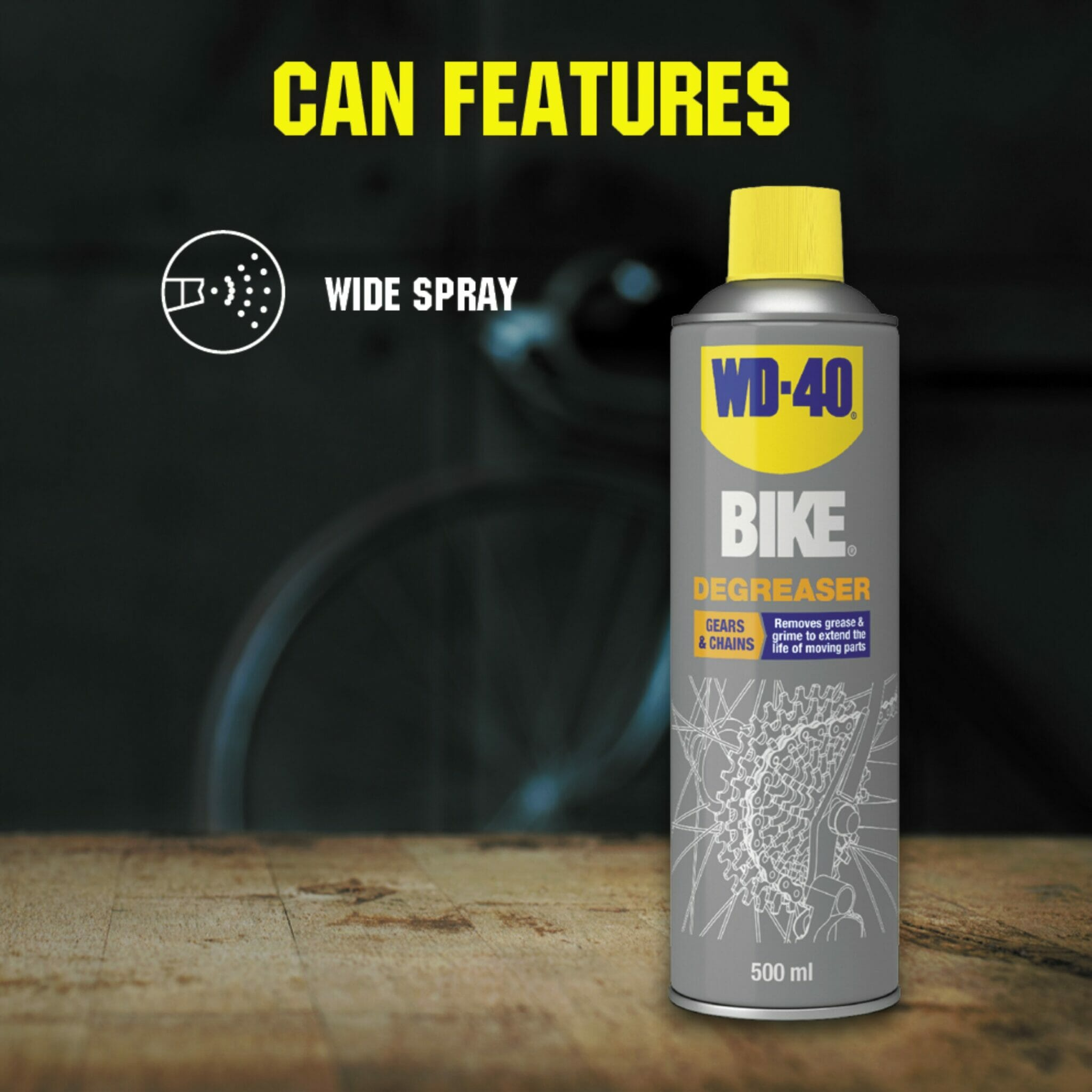 uk wd40 bike degreaser 500ml can features lifestyle background