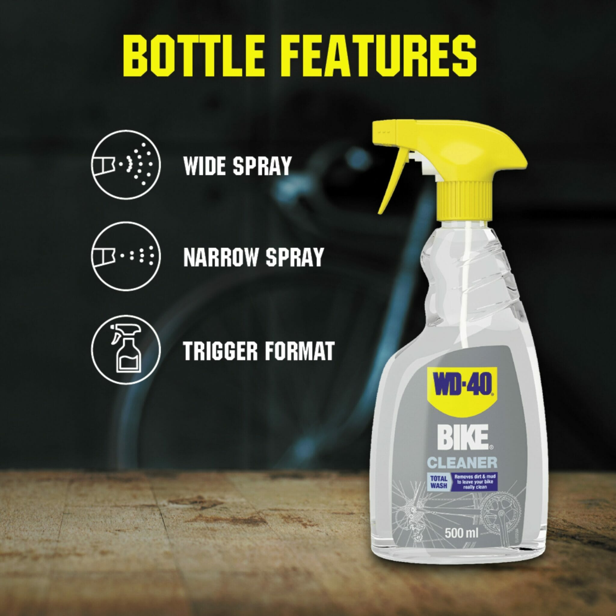 uk wd40 bike cleaner 500ml bottle features lifestyle