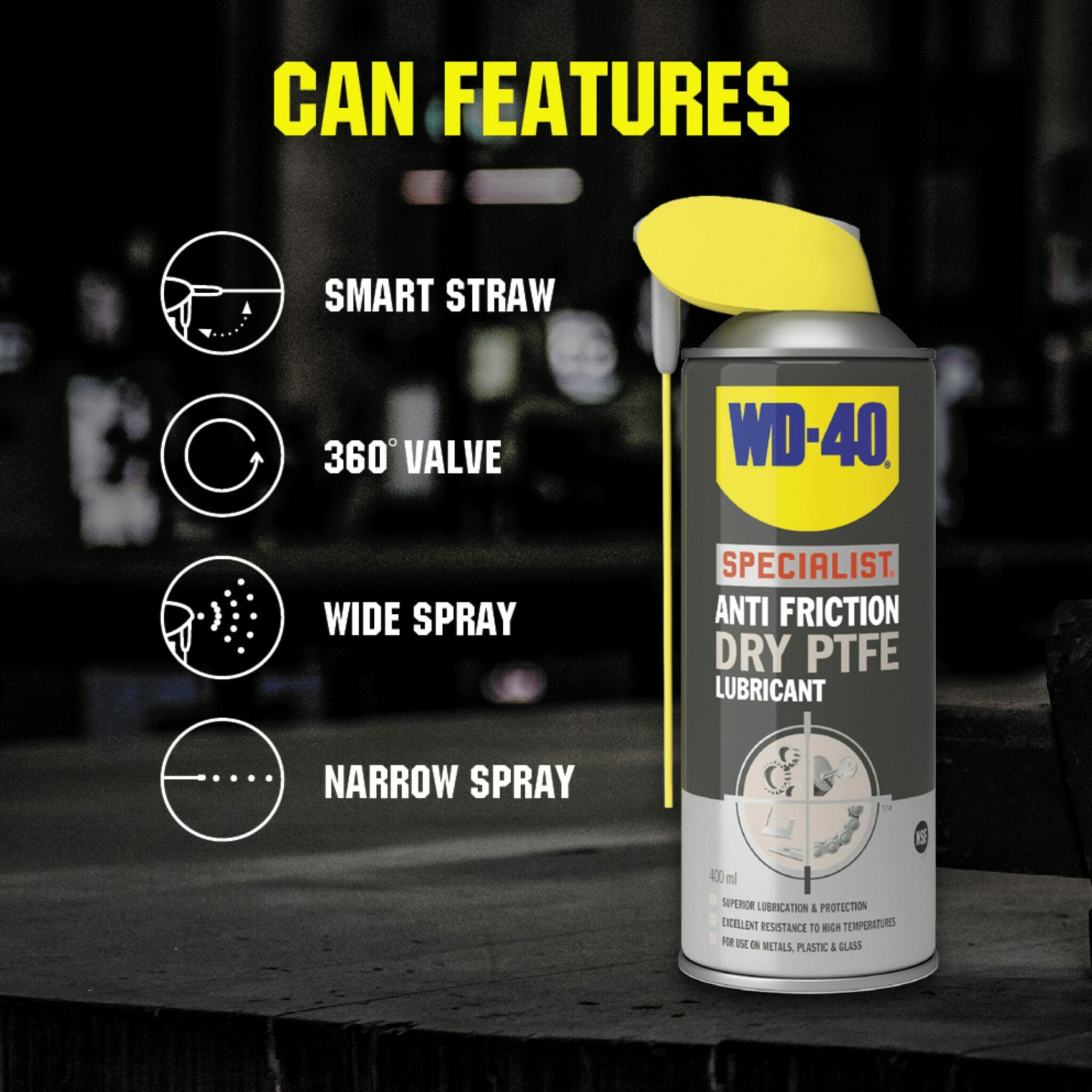 uk wd40 specialist anti friction dry friction ptfe lubricant 400ml can features lifestyle background