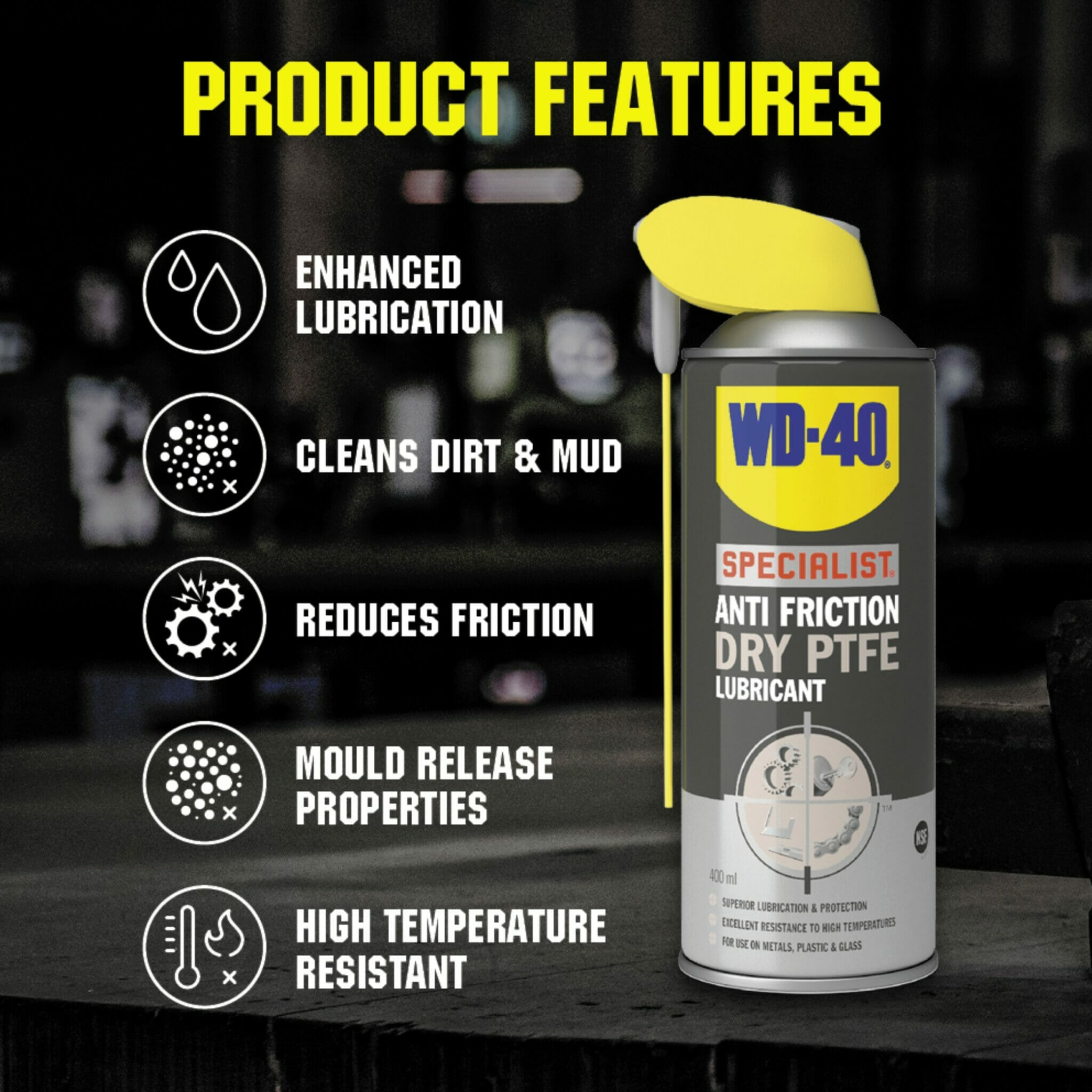 uk wd40 specialist anti friction dry friction ptfe lubricant 400ml product features lifestyle background