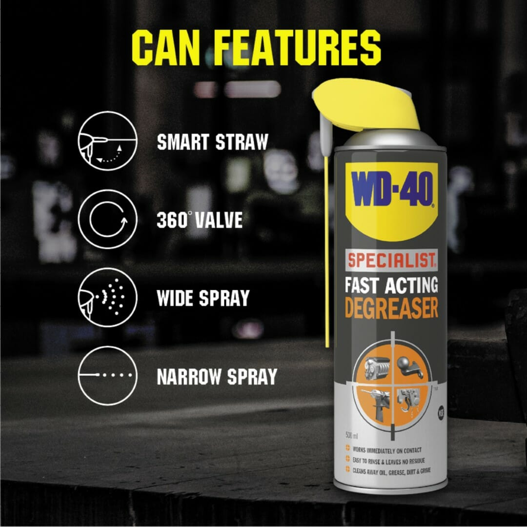 uk wd40 specialist fast acting degreaser 500ml can features lifestyle background (large)