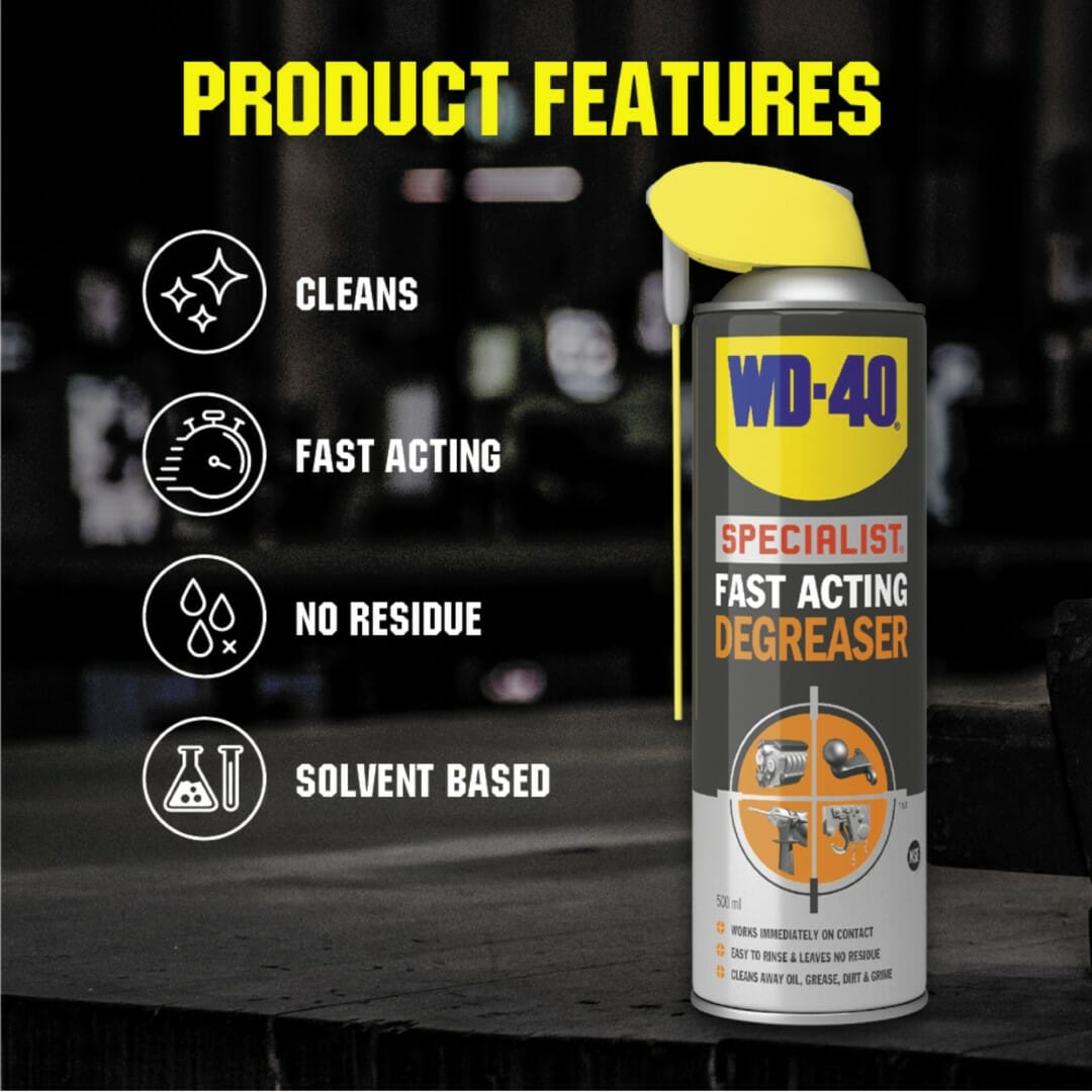 uk wd40 specialist fast acting degreaser 500ml product features lifestyle background (large)
