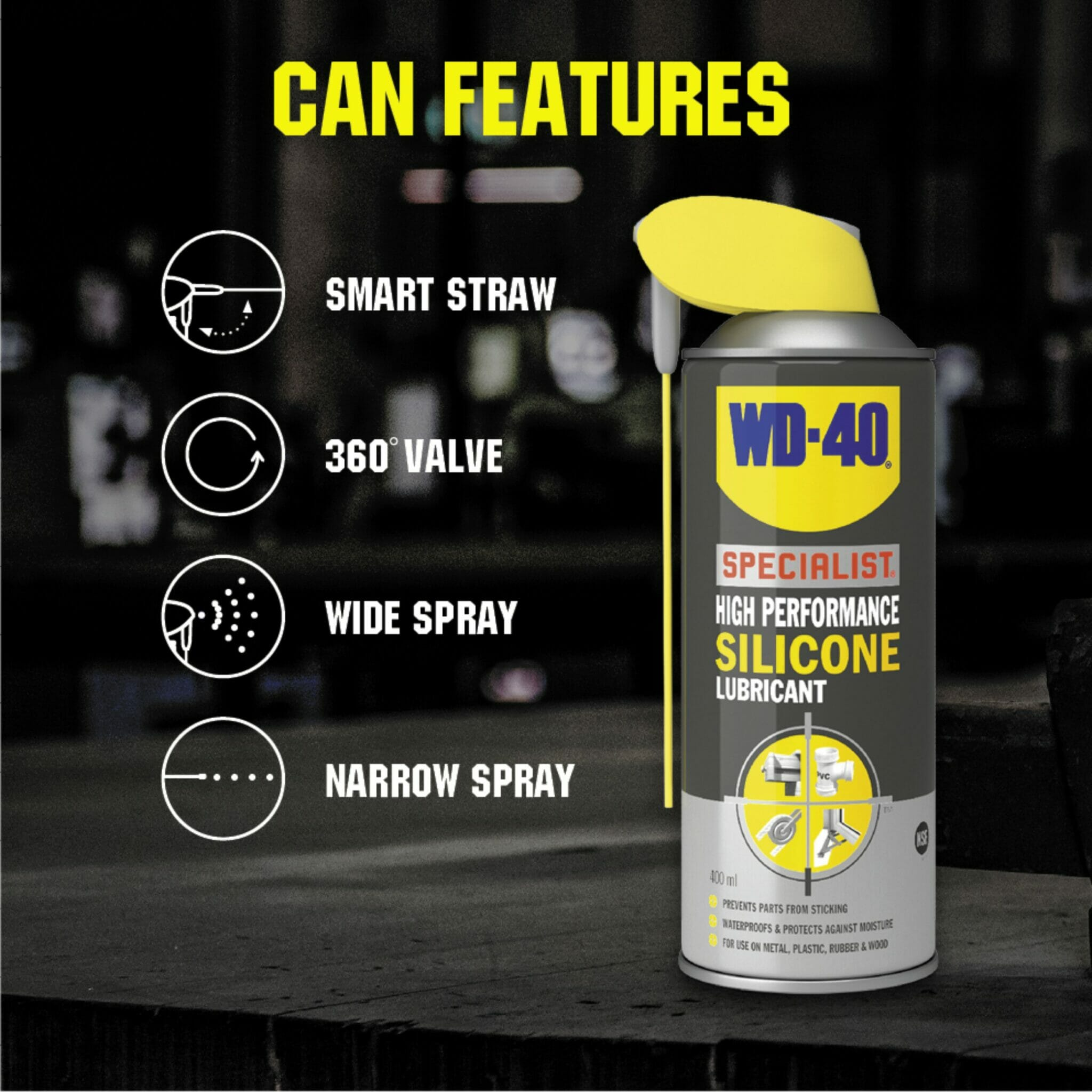 uk wd40 specialist high performance silicone lubricant 400ml can features lifestyle background