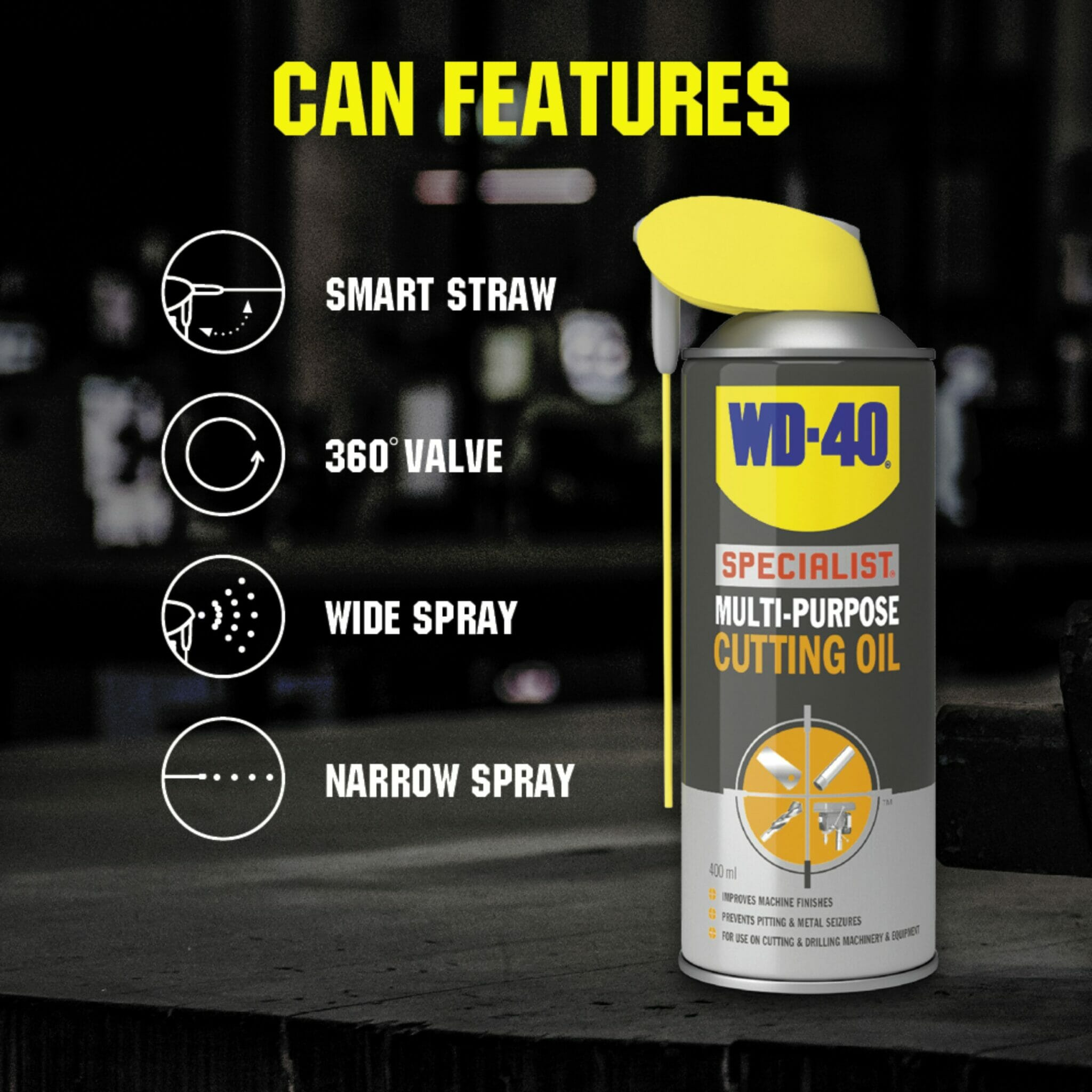 uk wd40 specialist multi purpose cutting oil 400ml can features lifestyle background
