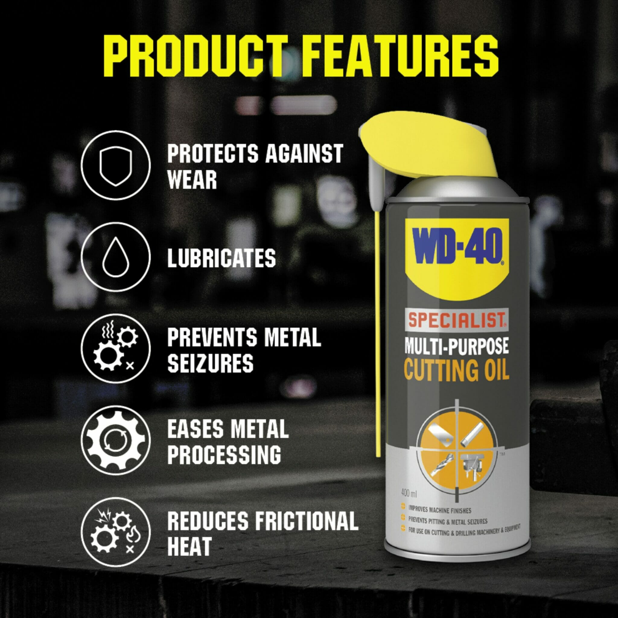 uk wd40 specialist multi purpose cutting oil 400ml product features lifestyle background