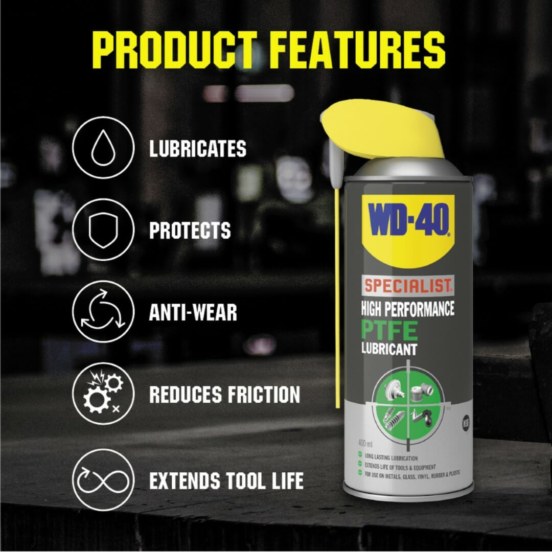 uk wd40 specialist high performance ptfe lubricant 400ml product features lifestyle background (large)
