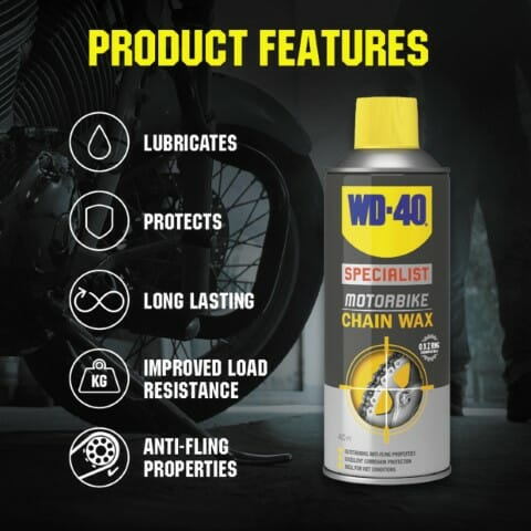 uk wd40 specialist motorbike chain wax 400ml product features lifestyle background (small)